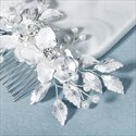 Alloy Leaf And Floral Handmade Hair Comb With Pearls