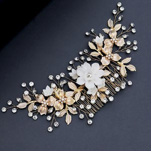 Gold Alloy Polymer Clay Flower Hair Comb Princess Headpieces