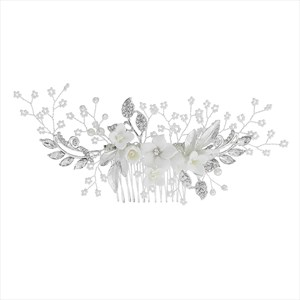 Silver Alloy Polymer Clay Flower Hair Comb Princess Headpieces