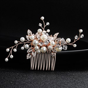 Rose Gold Alloy Crystal Hair Comb Princess Headpieces With Pearls