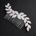 Alloy Wave Rhinestones Leaf Hair Comb Princess Headpieces