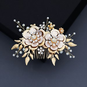 Gold Alloy Flower Pearls Hair Comb Princess Headpieces
