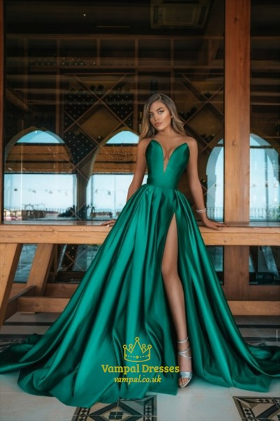Emerald Green Plunging Sweetheart Split Front Long Satin Prom Dresses