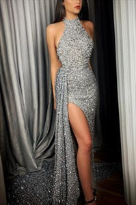 Grey Sequin Halter High Neck Evening Party Dress With Side Split
