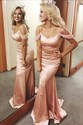 Pastel Pink Mermaid Off The Shoulder Prom Evening Dress