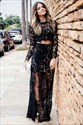 Black Lace Two Piece Long Sleeves Prom Evening Dress With Side Split