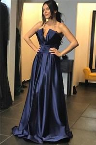 Navy Blue V-Neck Pleated Bodice Floor Length Prom Party Dresses