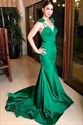 Emerald Green Spaghetti Strap Mermaid Prom Evening Dress With Bowknot