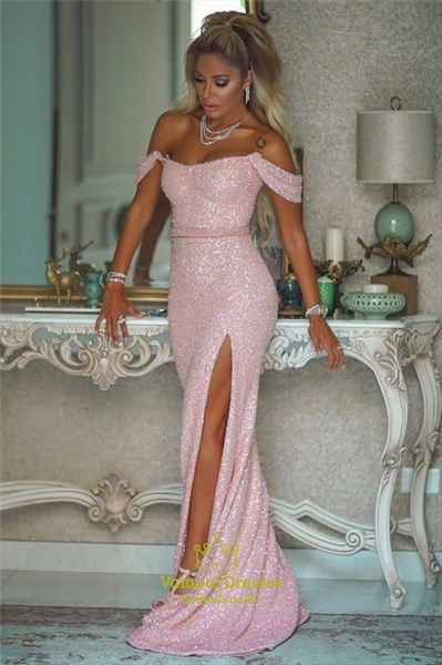 Pink Off The Shoulder Sequin Mermaid Evening Dress With Side Split