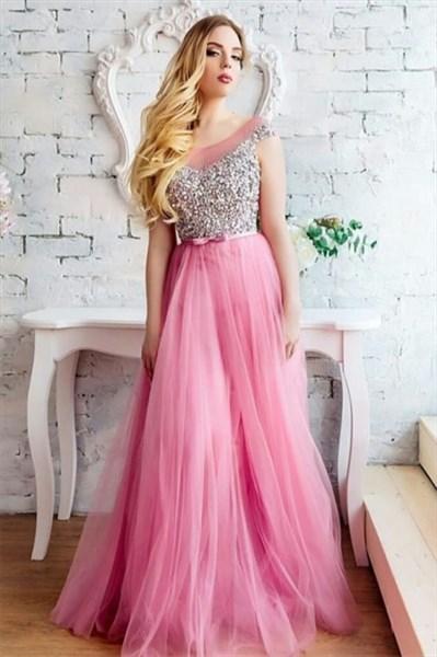 Beaded Bodice Embellished Sleeveless Long Tulle Prom Evening Dress