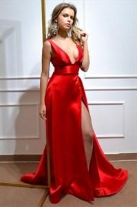 Deep V-Neck Red Sleeveless Long Satin Split Front Prom Evening Dress