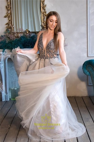 Champagne Long Illusion-Beaded-Bodice V-Neck Prom Dress With Straps