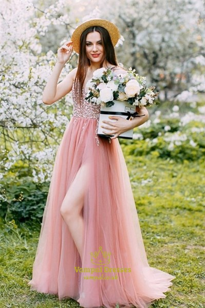 Peach Long Beaded Bodice V-Neck Sleeveless Split Front Evening Dress