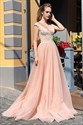 Peach V-Neck Sleeveless Lace Applique Long Tulle Prom Evening Dress