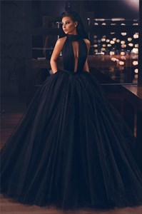 Black High-Neck Sleeveless Keyhole Front Long Tulle Prom Evening Dress