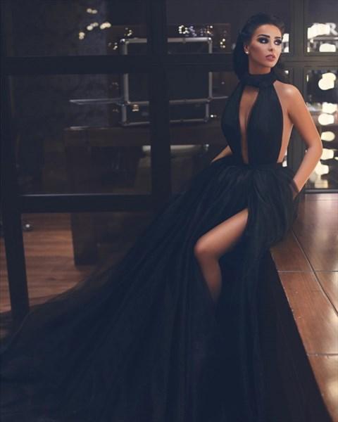 Black High-Neck Sleeveless Keyhole Front Long Tulle Prom Evening Dress