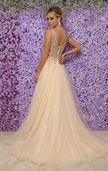 Champagne V-Neck Sleeveless Beaded Embellished Long Tulle Prom Dresses