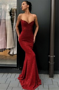 Red Sparkly Sequin Spaghetti Strap Mermaid Long Prom Party Dresses