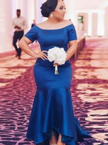Royal Blue Satin Mermaid Prom Evening Dresses With Short Sleeves