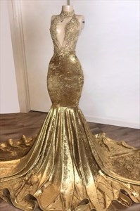 Gold Plunge V Neck Mermaid Beaded Lace Applique Prom Evening Dresses