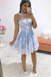 Blue High-Neck Halter Lace Applique Short Prom Homecoming Dresses