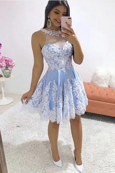 Blue High-Neck Halter Lace Applique Short Prom Homecoming Dresses