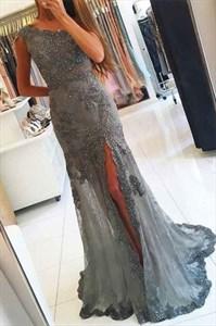 Grey Lace Applique Beaded Embellished One Shoulder Mermaid Prom Dress