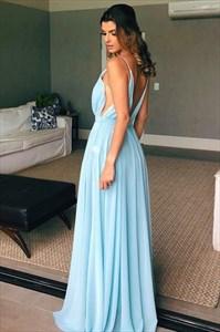 Sky Blue A-Line Chiffon Spaghetti Strap Pleated Prom Dress With V-Back