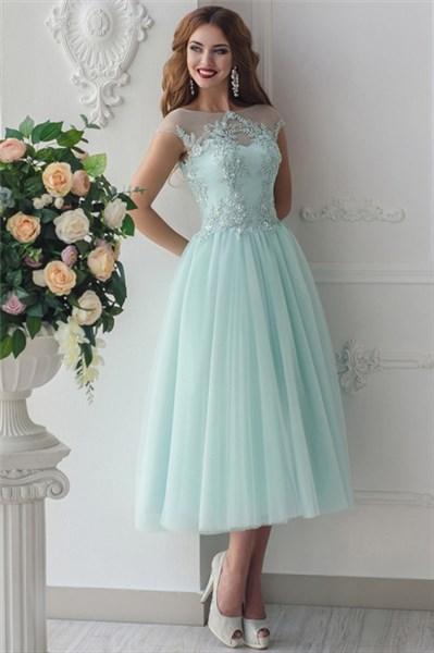 Jade Green Lace Applique Cap Sleeve Tulle Tea Length Homecoming Dress