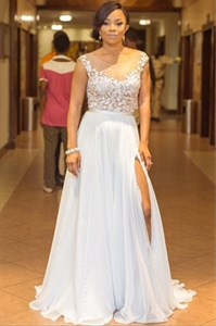 White Chiffon Illusion Lace Applique Split Front Long Prom Dress