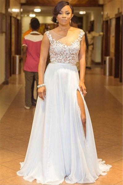 White Chiffon Illusion Lace Applique Split Front Long Prom Dress