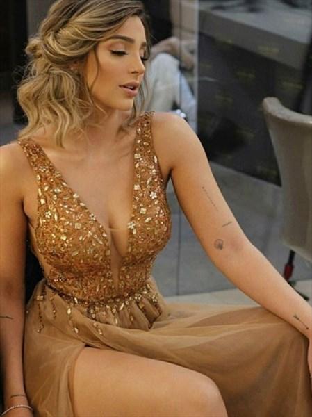Gold V-Neck Sleeveless Beaded Bodice Split Front Prom Evening Dresses