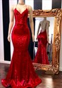 Red Long Sequin Spaghetti Strap V-Neck Mermaid Prom Party Dresses