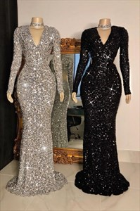 Sequin V-Neck Sleeveless Long Sleeves Mermaid Evening Party Dresses