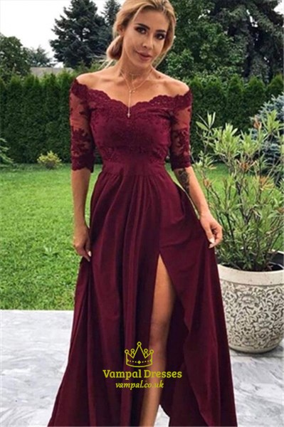 Burgundy Off The Shoulder Lace Applique Split Front Prom Dresses