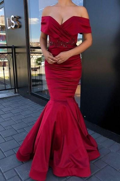 Burgundy Mermaid Off The Shoulder Lace Applique Evening Dresses