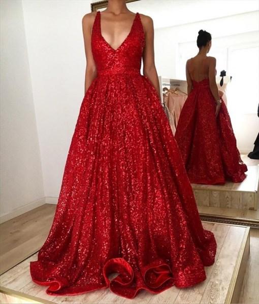 Red Sequin V-Neck Sleeveless Floor Length Open Back Evening Dresses