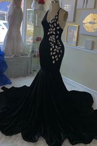 Black Mermaid V-Neck Beaded Embellished Spaghetti Straps Evening Dress