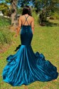 Mermaid V-Neck Floral Applique Spaghetti Straps Prom Dress With X-Back