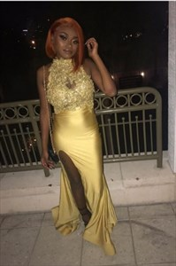 Gold Beaded Lace Applique High-Neck Halter Split Front Prom Dress
