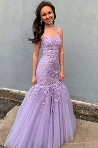 Lavender Lace Applique Embellished Spaghetti Straps Tulle Prom Dresses