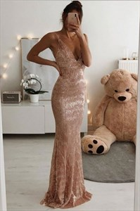 Pastel Pink Sequin Overlay V-Neck Spaghetti Straps Prom Party Dresses