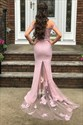 Pink Off The Shoulder Floral Applique Embellished Prom Party Dresses