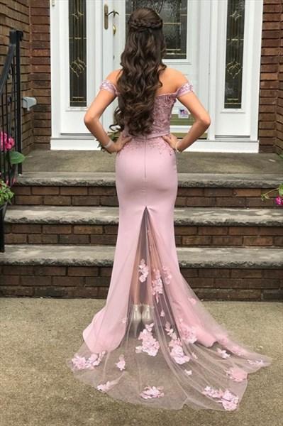 Pink Off The Shoulder Floral Applique Embellished Prom Party Dresses