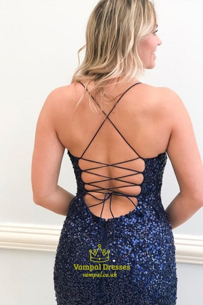 Navy Blue Long Sequin Split Front Prom Dresses With Criss-Cross Straps