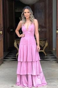 Pink A-Line V-Neck Spaghetti Straps Layered Ruffle Long Prom Dresses