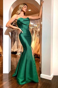 Emerald Green Strapless Sweetheart Mermaid Split Front Long Prom Dress