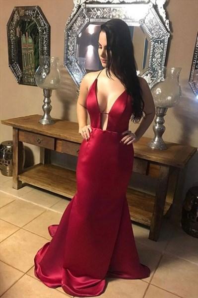 Burgundy Mermaid Deep V-Neck Satin Backless Prom Dress With X-Back