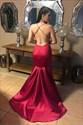 Burgundy Mermaid Deep V-Neck Satin Backless Prom Dress With X-Back