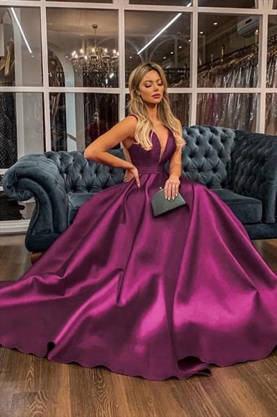 Purple A-Line Deep V-Neck Sleeveless Satin Backless Prom Party Dresses